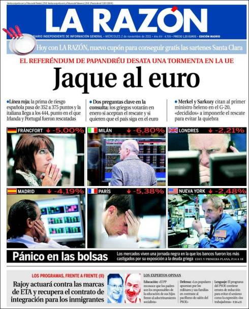 Portada La Razón (en Kiosko.net)